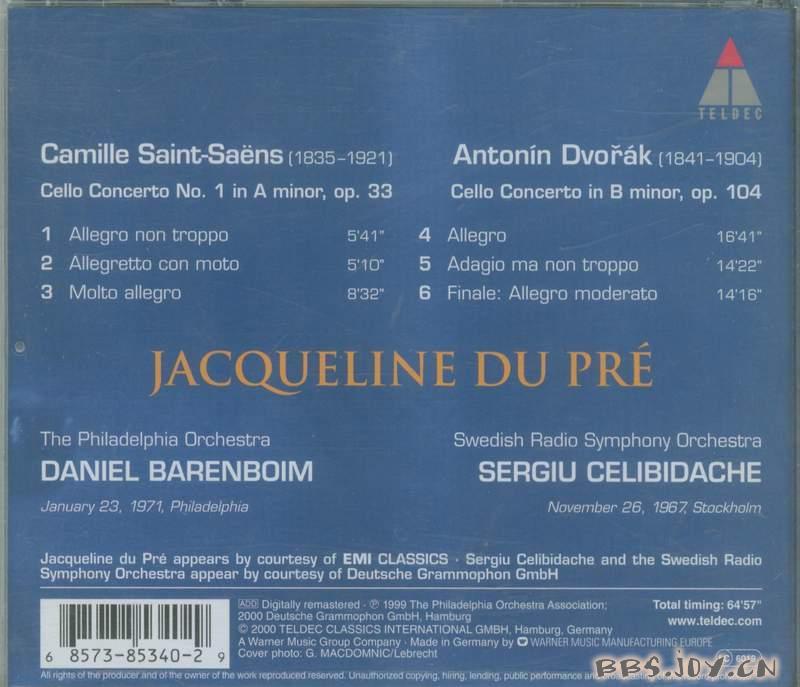 杜普蕾演绎德沃夏克和圣桑大提琴协奏曲专辑 快速下载